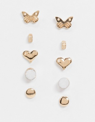 DesignB London stud earring multipack with butterfly and heart detail x 5 in gold
