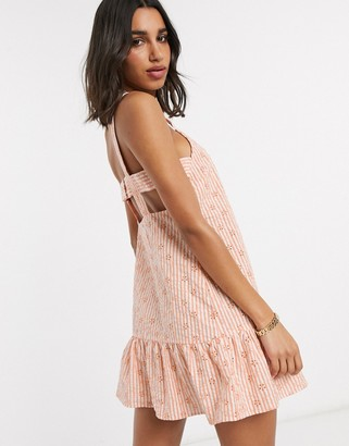 ASOS DESIGN mini sundress with pephem in stripe broderie
