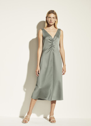 Vince Hammered Satin Ruched Double V-Neck Dress