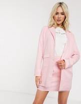 Heartbreak longline blazer suit in pink gingham