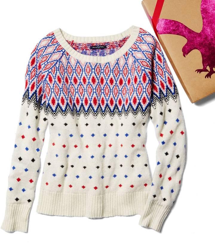 American Eagle AE Festive Fair Isle Sweater