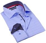 Levinas Windowpane Contemporary Fit Dress Shirt
