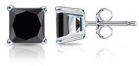 Auriya 14k Gold 1/2ctw Princess-cut Black Diamond Stud Earrings