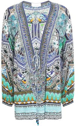 Camilla The Creator Lace-up Embellished Printed Silk Crepe De Chine Blouse