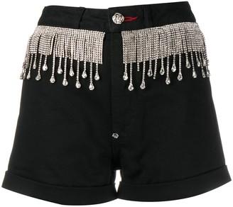 Philipp Plein Crystal-Fringed Shorts