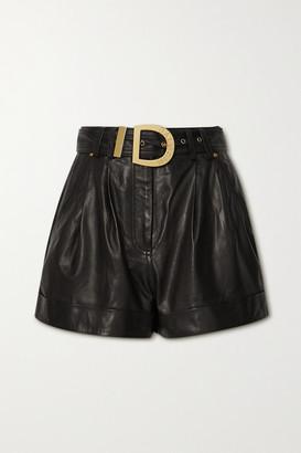 Balmain Belted Leather Shorts - Black