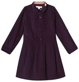 Burberry Purple Corduroy Long Sleeve Dress with Classic Check Trims
