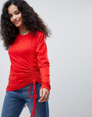 Only Drawstring Long Sleeved Top-Red