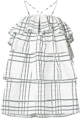 MSGM Layered Ruffle Check Dress