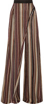 Balmain Metallic Stretch-knit Wide-leg Pants - FR38