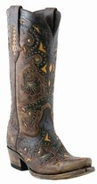 Lucchese Classics Women's Fiona-stud Scarlette Cafe Bn Calf Riding Boot