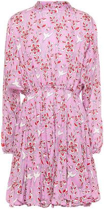 Rhode Resort Caroline Gathered Printed Crepe De Chine Mini Dress