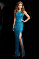 Scala 48700 Low Back Sequin Prom Dress