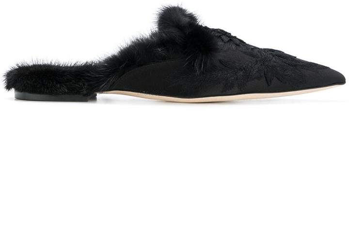 Alberta Ferretti faux fur trim and floral embroidered slippers