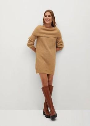 MANGO Boat neck knit dress ecru - 2 - Women