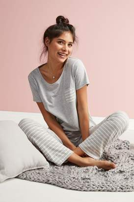 Next Womens Grey Stripe Cotton Blend Pyjamas - Grey