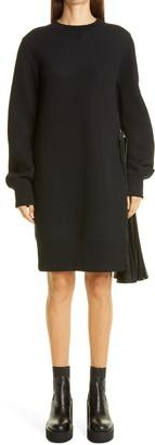 Sacai Pleated Panel Long Sleeve Sponge Sweatshirt Minidress