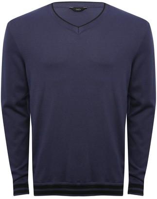 M&Co Contrast trim V-neck jumper