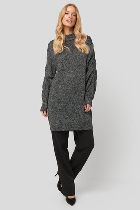 NA-KD Glittery Knitted Long Sweater Black