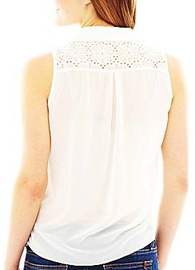 JCPenney by&by Sleeveless Lace Button-Front Blouse
