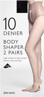 John Lewis & Partners 10 Denier Bodyshaper Sheer Tights, Pack of 2