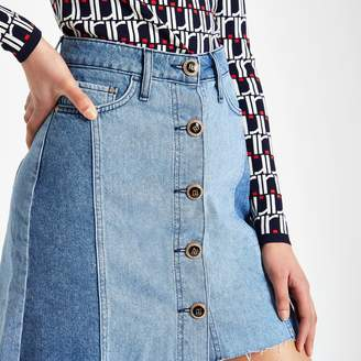 River Island Womens Mid Blue button front mini denim skirt