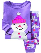 SS&CC Girls' Snowman printing Long Sleeve 2 Piece 100% Cotton Pajama set(2-7 Years)