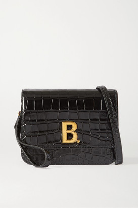 Balenciaga B Small Croc-effect Leather Shoulder Bag - Black