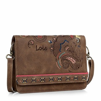 Lois Shoulder Bag waistbag. Clasp Closing. Adjustable and Removable Shoulder Strap. Woman. Printed linner. Inside Pockets. Waistbag Convertible. Embroidered Design. Synthetic Leather Color Brown