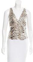 Roberto Cavalli Silk Cheetah Print Top