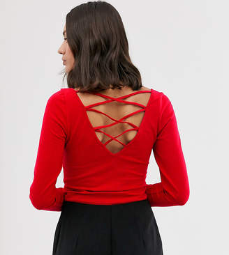 Monki high neck long sleeve top-Red