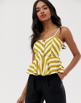 Qed London QED London button down cami top with peplum hem in stripe