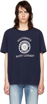 Saint Laurent Navy 'Université' Logo T-Shirt