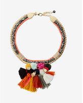 Express pom and tassel woven choker necklace