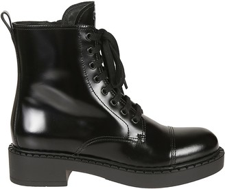 Prada Lace-up Side Zip High Boots