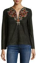 Antik Batik Preston Kurta Embroidered Top, Black