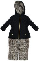 Pink Platinum Toddler Girl Heavyweight Quilted Jacket & Cheetah Print Bib Snow Pants Set