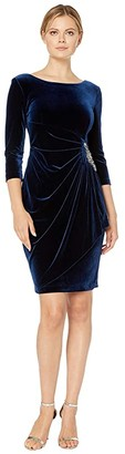 Alex Evenings Short Velvet Dress with Beaded Hip Detail (Imperial) Women's Dress
