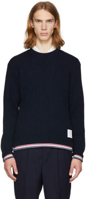 Thom Browne Navy Chunky Crewneck Stripe Sweater