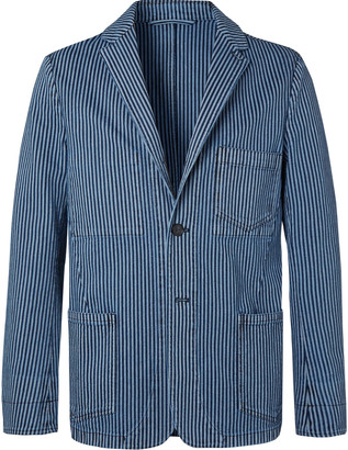 Officine Generale Indigo Striped Cotton Blazer