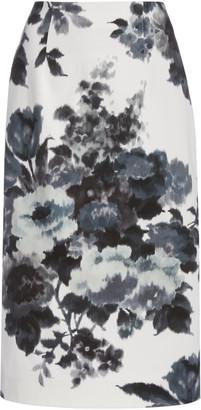 Carolina Herrera Floral-Print Stretch-Cotton Pencil Skirt