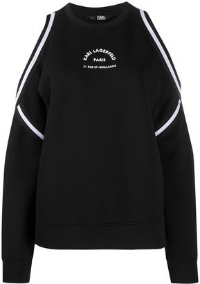 Karl Lagerfeld Paris Rue St-Guillaume cold-shoulder sweatshirt