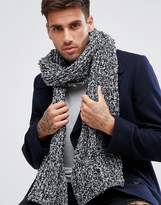 Asos Knitted Scarf In Black And Gray Boucle