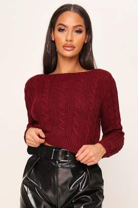I SAW IT FIRST CABLE KNIT CROPPED JUMPER