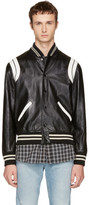 Saint Laurent Black & White Leather Teddy Bomber Jacket