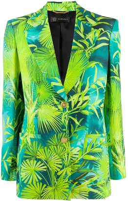 Versace Jungle print single-breasted blazer