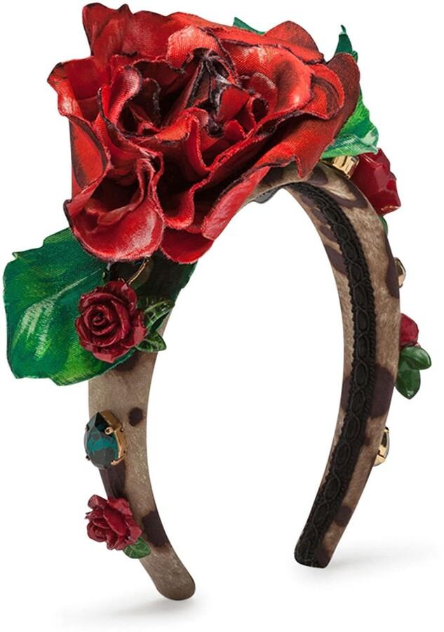 Dolce /& Gabbana Headband In Bright Red Jacquard Wool Kint