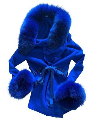 Blumarine Blue Fox Jacket for Women