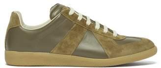 Maison Margiela Replica Leather And Suede Trainers - Mens - Khaki