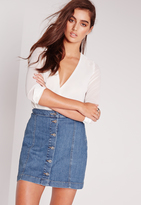 Missguided Button Through Denim Skirt Rinse Indigo
